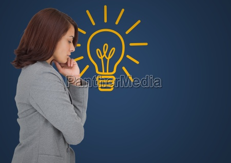 business woman thinking against blue background