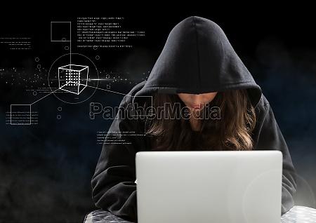 woman hacker working on laptop in