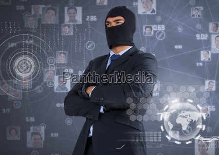 businessman with hood and arms crossed