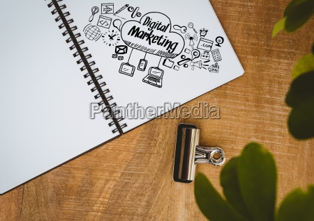 digital marketing doodle on notepad next