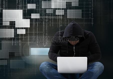 hacker seated with cross legged using