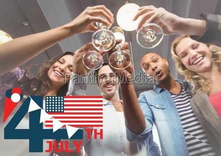 fourth of july graphic with flag