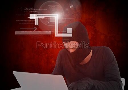 hacker working on laptop in front