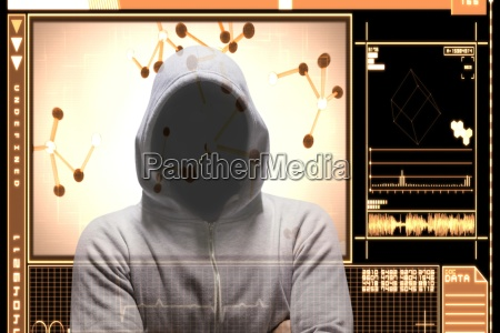 hacker standing with arm crossed on