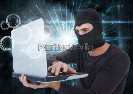 3d hacker with hood using a