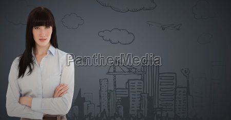 business woman arms folded against 3d