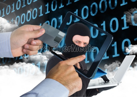 man using a tablet with hacker