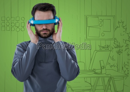 man in blue virtual reality headset