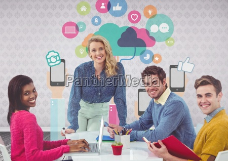 group of people at desk in