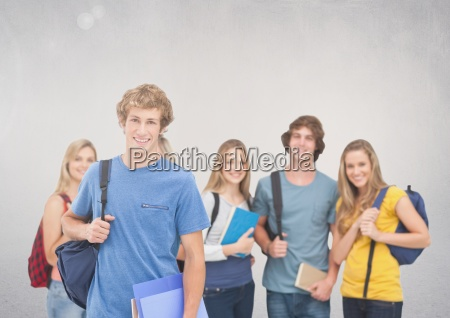 group of students standing in front