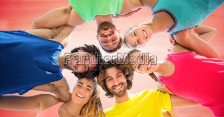 low angle of millennials in circle