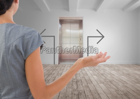confused business woman against white room