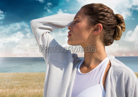 woman practicing casual mindfulness in front