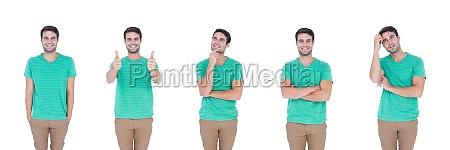 man expressing feelings collage