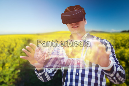 composite image of young man using