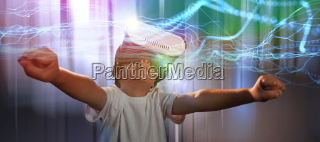 composite image of happy boy using