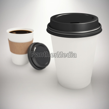 composite image of white cup over
