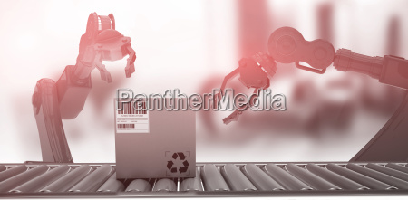 composite image of packed carton box