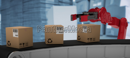 composite image of cardboard boxes on