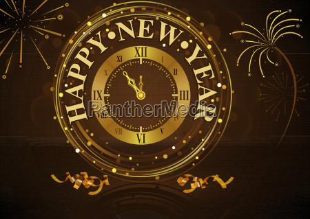 happy new year greeting with golden