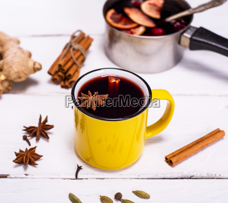 mulled wine in a yellow mug