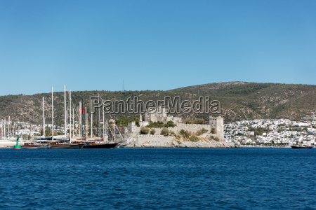 castle and marina of bodrumturkey