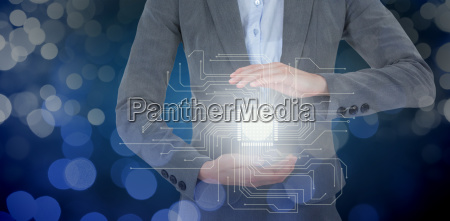 composite image of businesswoman gesturing over
