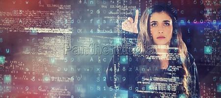 composite image of female hacker using