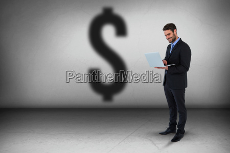 composite image of businessman standing while