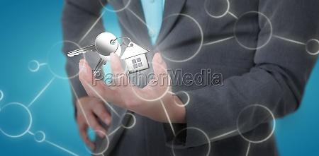 composite image of businesswoman gesturing against