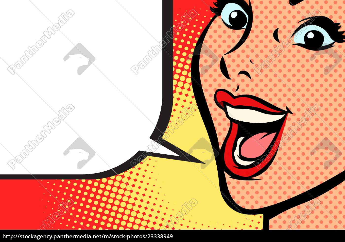 Close Up Pop Art Woman Face Smile Stock Photo 23338949 Panthermedia Stock Agency