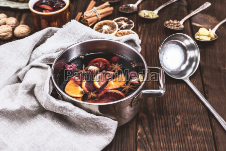 mulled wine in a pan with