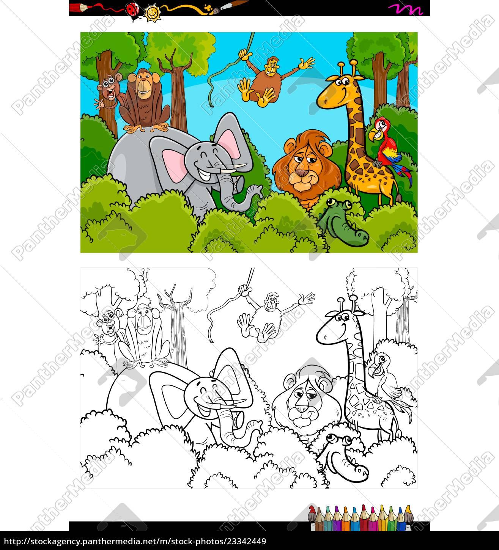 - Cartoon Wild Animal Characters Coloring Book - Stock Photo