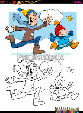 winter fun with family coloring book