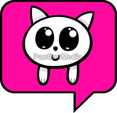cartoon kitten chat icon