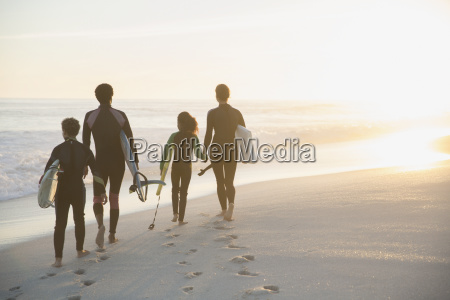 family in wet suits walking with