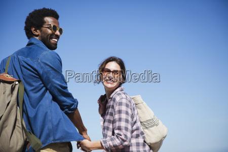 portrait smiling affectionate multi ethnic couple