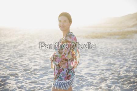 portrait smiling confident brunette woman in