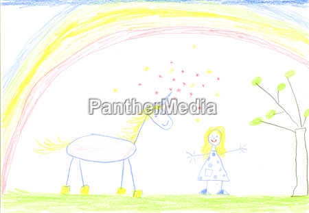 childs drawing of unicorn and girl