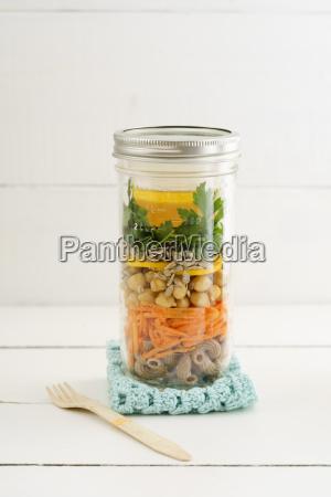 jar of vegan mixed salad with