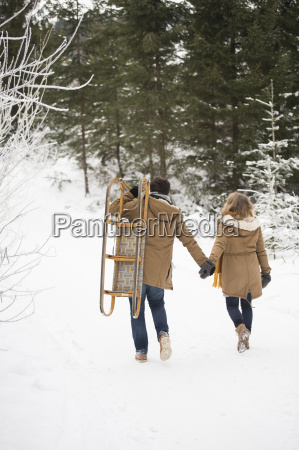 back view of young couple with