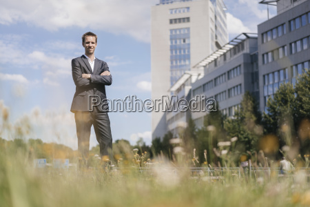 businessman standing on field in front