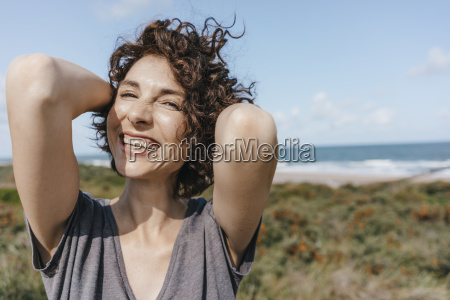 portrait of happy woman at the
