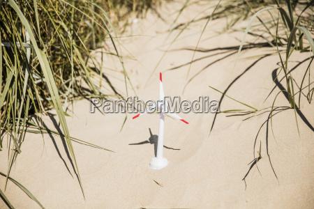 model wind turbine on the beach