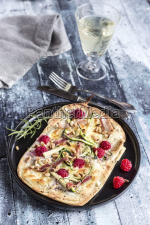 homemade pizza with zucchini mozzarella ricotta