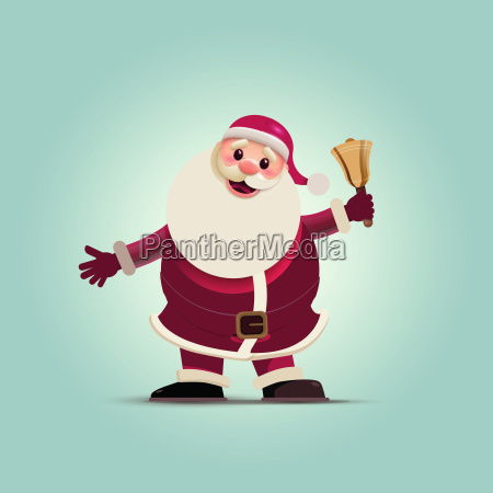 santa claus holding christmas bell
