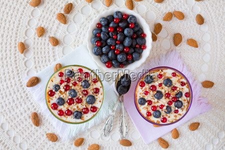 two yogurt dessert with berries and