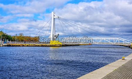 footbridge ustka swing bridge harbor canal