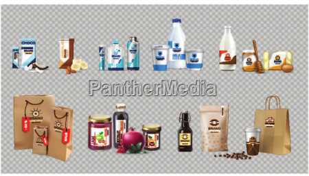 vector realistic food products milk and