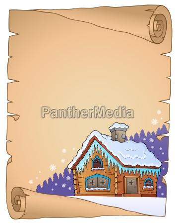 winter cottage theme parchment 1
